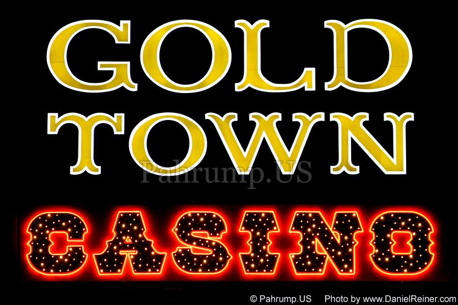 Goldtown Sign at Night