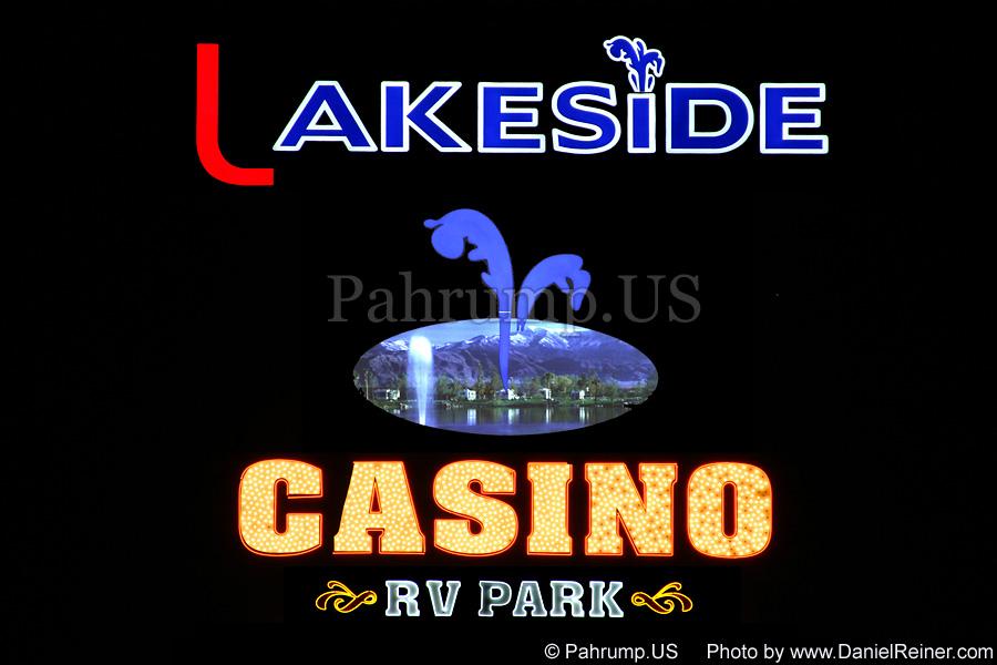 Lakeside Sign at Night