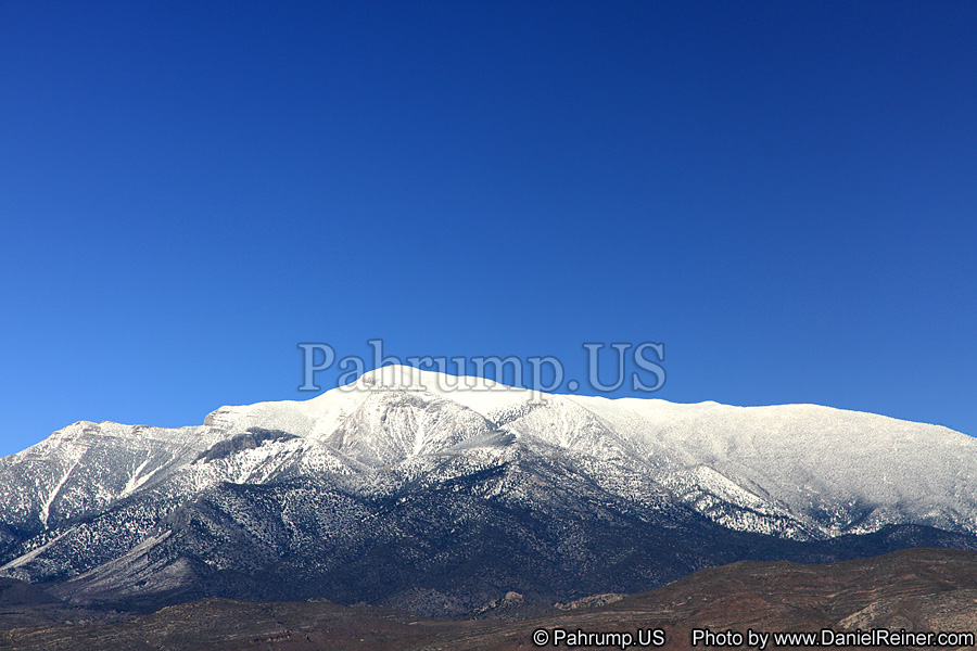 Image of Mount Charleston covered in snow from Pahrump